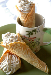 Norwegian Krumkake with Honey & Rum Raisin Mousse - (Free Recipe below)