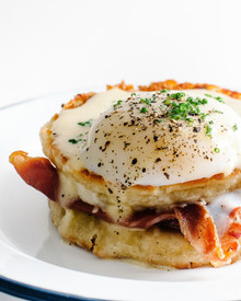 Prosciutto Grilled Gruyere Cheese Egg Sandwich with Hollandaise Sauce - (Free Recipe below)