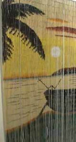 Boat Sunset Beach Bamboo Beaded Curtain