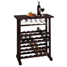 24 Bottle Wine Rack Storage Cabinet Wood Glass Bar - Espresso or Pine