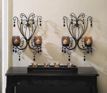 2 BLACK French Chic Chandelier Candle Wall Sconces