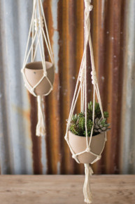 COTTON MACRAME HANGER WITH CLAY POT - Set of 2