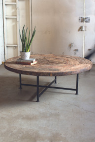 ANTIQUE WOODEN WAGON WHEEL COFFEE TABLE WITH IRON BASE