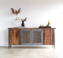 Industrial Modern Buffet Cabinet / Reclaimed Wood + Steel Bar Storage