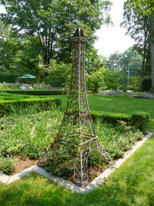 "Eiffel Tower Wrought Iron Topiary Trellis 40""h"