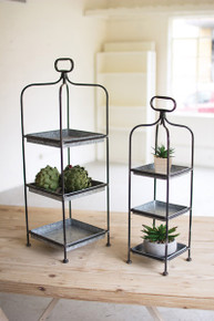 SET OF 2 TALL METAL DISPLAY STANDS W/ GALVANIZED TRAYS