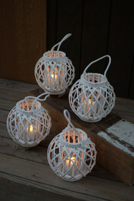 ROUND WHITE WILLOW LANTERN WITH GLASS INSERT - includes 4