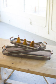 SET OF 3 RUSTIC GALVANIZED RECTANGLE TRAYS W/WOODEN HANDLES