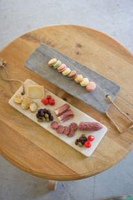 MARBLE LONG CUTTING BOARD W/ROPE HANDLE - Grey or White