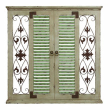 Distressed Rustic Vintage Window w/ Shutters Wood Metal Wall Decor