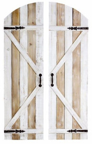 Rustic Farmhouse Country Arched Garden Gate Wall Panels -  Set of 2