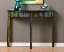 Blue And Green Demilune Hall Wall Table