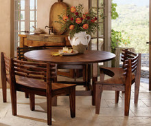 French Chateaux Wooden Table & 3 Benches