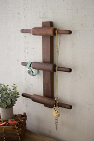 WOODEN ROLLING PIN COAT RACK