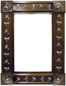 Dragonfly & Frog Metal Mirror - Large - Silver or Oxidized