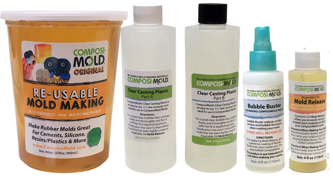 ComposiMold All-in-One Resin Mold Making & Casting Kit, Clear Resin,  Reusable Molds