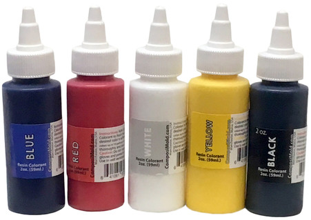 Primary Colors Epoxy Pigment (Colorant, Dye, Tint) 2 oz. Kit (5 colorants Red, Blue, Black, Yellow, White