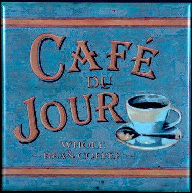 Cafe de Jour Vintage Coffee Sign Decorative Art Tile Home Accents