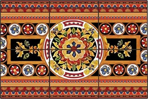 Colorful Folk Art Ceramic Tile Mural
