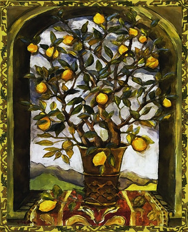 lemon tree decorative art tile