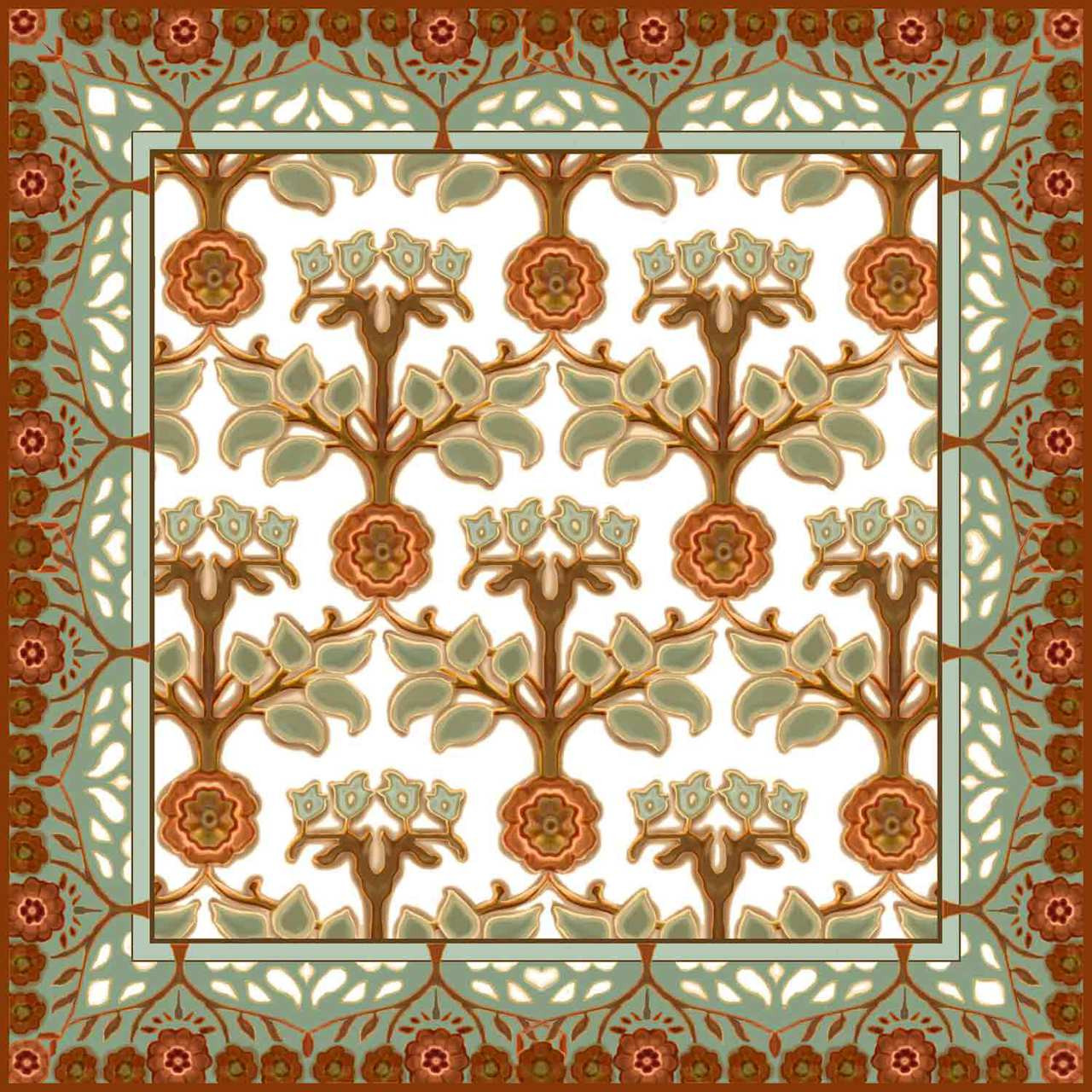 Medallion rose ii artistic tile decorative tile designs for Teli decorativi