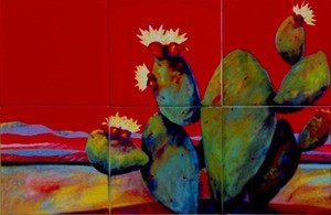 Red Desert Artistic Tile Mural by Connie's Custom Creations