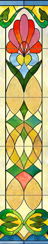 Vertical Stained Glass Ceramic Tile Mural