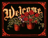 Welcome Sign Geraniums Art Tile