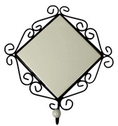 "Wrought Iron Frame With Porcelain Bead Hook For 4.25"" Tile"