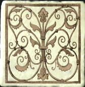 wrought iron scroll stone tile, artistic tile designs by connies custom creations