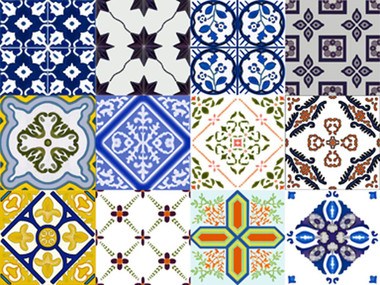 spanish artistic tile set, decorative tile designs by Connie's Custom Creations