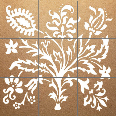 White Bouquet Parchment Decorative Tile Mural