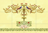 peacock tile artistic tile mural yellow