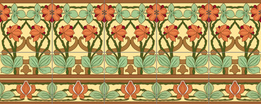 Nouveau Seasons Artistic Tile Mural by Connie's Custom Creations
