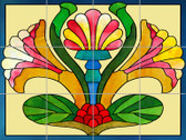 Sunny Nouveau Artistic Tile Mural by Connie's Custom Creations