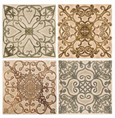 Scroll Set Ceramic Backsplash Tiles