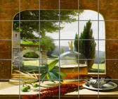 Large Decorative Ceramic Tuscan Window Mural for Sale