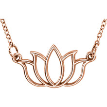 "Tiny Posh Lotus 18"" Necklace In 14K Gold measures 8.85x16.80mm and has a bright polish to shine."