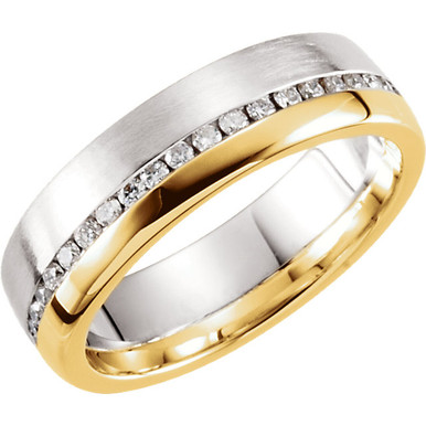 Half and half style men's wedding band features a polished band of yellow gold on one side, and a brushed white gold band on the other, separated by a line of diamonds.