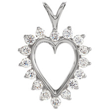 When mere words cannot convey the depth of your love, turn to this classic diamond heart pendant. Fashioned in warm 14K gold, this heart pendant is outlined with shimmering round cut diamonds. A lovely variation on a common theme, this heart delights with 1/2 ct. t.w. of diamonds and a polished shine. The heart suspends along an 18.0-inch rope chain that secures with spring-ring clasp.