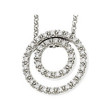 """This 1/4 ct. tw. diamond concentric circles 18"""" necklace in 14kt white gold offers a great look and flawless design. Surely a beautiful necklace that belongs in every collection. Simple yet seductive, this piece shines with diamond. This necklace is simple yet stunning, captivating like no other."""
