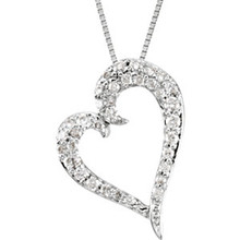 This elegant 14k white gold necklace features a heart adorned with sparkling round diamonds. Diamonds are 1/4ctw and are G-H in color and I1 or better in clarity. Necklace is suspended from a 14k white gold chain and has a bright polish to shine.