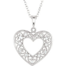 "This diamond heart 18"" necklace features a romantic heart adorned with round diamonds. Diamonds are 1/10ctw, G-H in color, and I1 or better in clarity."