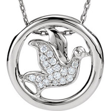 """This necklace is so pretty! The design is a circle with a dove in the center. The dove is made up of 19qty small round genuine white diamonds which totals 1/8ctw. The dove has its wings open like it is flying. The pendant is all sterling silver and hangs on a sterling silver 18"""" chain. The pendant has a hidden hole style bail in the back that allows the pendant to slide on chain. Pendant measurement is approx. 16.25mm (approx. 5/8 of an inch!"""