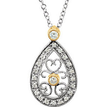 """Diamond 16"""" Necklace In 14K White/Yellow Gold and measures 17.40x10.35mm. Diamonds are 1/6 ct. tw, G-H in color and I1 or better in clarity. Polished to a brilliant shine."""