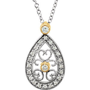 "Diamond 16"" Necklace In 14K White/Yellow Gold and measures 17.40x10.35mm. Diamonds are 1/6 ct. tw, G-H in color and I1 or better in clarity. Polished to a brilliant shine."