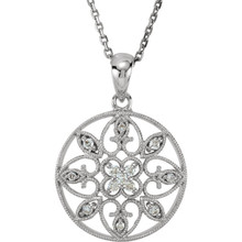 "1/8 ct. t.w. round brilliant-cut diamonds twinkle on this vintage-style filigree pendant necklace. Suspends from a 18"" cable chain with a spring ring clasp. 14kt white gold pendant necklace."