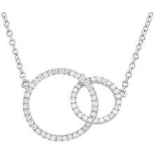 """Our designer inspired 1/3 ct. tw. round cut white diamond double 18"""" circle necklace in 14kt gold is a perfect match for today's style. This Necklace is sure to impress. This necklace is undeniably a fashion-forward look and masterfully crafted with a bright polished shine."""