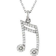 14K Solid Gold Genuine 1/5 ct. tw. Diamonds Double Sixteenth Note Style Necklace featuring 1/5 ct. tw. Round genuine Diamonds. It is set in brightly polished Solid 14K Gold on a Solid Cable Chain.  The chain is 16 Inches long x 1.0 mm wide.  It is a truly unique and a fantastic choice.