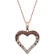 This 14k rose gold necklace features a romantic heart adorned with pink and white round diamonds. Diamonds are 1/2ctw, H-J in color, and I2-I3 or better in clarity.